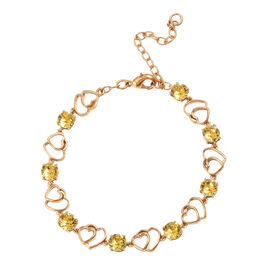 J Francis  - Crystal from Swarovski Topaz Colour Crystal (Rnd) Adjustable Heart Bracelet (Size 7.5 with 2 inch Extender) in Gold Plated