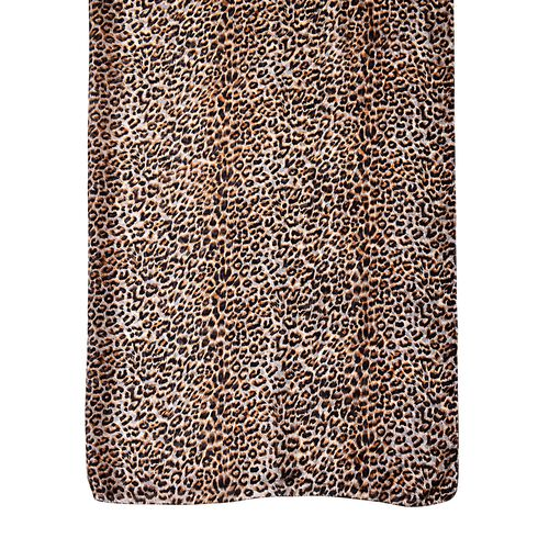 100% Mulberry Silk Black, Chocolate and White Colour Leopard Pattern Scarf (Size 180x110 Cm)