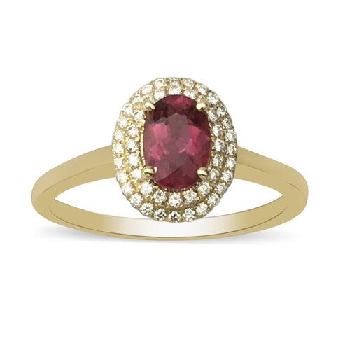 ILIANA 18K Yellow Gold AAAA Rubellite and Diamond(SI/G-H) Ring 1.05 Ct.