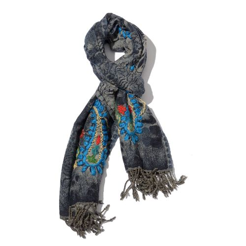 Designer Inspired 100% Wool Paisley Embroidered and Tiger Skin Pattern Grey Colour Scarf (Size 70x180 Cm)
