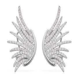 Simulated Diamond Angel Wings Earrings in Rhodium Plated Sterling Silver 6 Grams