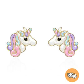 9K Yellow Gold Enamelled Unicorn Stud Earrings (with Push Back)