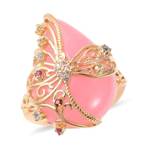 15.28 Ct Pink Jade and Multi Gemstone Filigree Ring in Gold Plated Silver