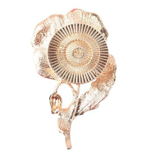 TJC Poppy Design White Austrian Crystal (Rnd) Poppy Floral Magnetic Brooch in Gold Tone
