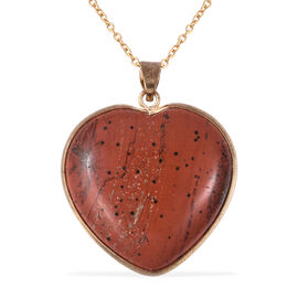82 Carat Red Jasper Heart Pendant with Chain in Gold Tone