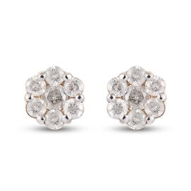9K Yellow Gold SGL Certified Pressure Set Diamond (I3/G-H) Stud Earrings (with Push Back) 1.00 Ct.