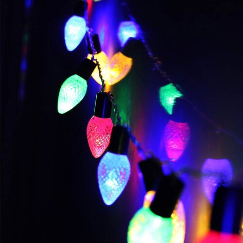 10 Multicolour Jewel Cones LED Battery Operated Lights (2xAA Battery not Included)