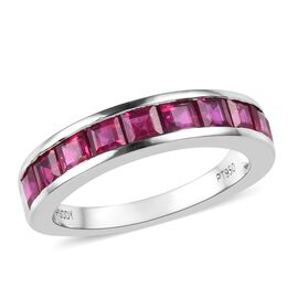 RHAPSODY 950 Platinum AAAA Burmese Ruby (Sqr) Half Eternity Band Ring 2.00 Ct, Platinum wt 5.10 Gms