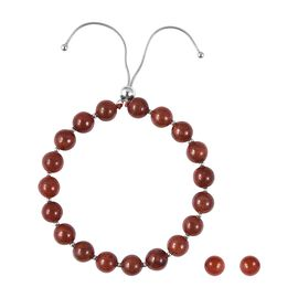 Rare Burmese Red Jade (Rnd 7-9 mm) Bracelet (Size 6.5 to 9) and Stud Earrings  in Rhodium Overlay St