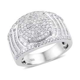 1.01 Ct Diamond Cluster Ring in Platinum Plated Sterling Silver 6.58 Grams