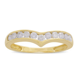 9K Yellow Gold SGL Certified Diamond (Rnd) (I3/G-H) Wishbone Ring 0.500 Ct.