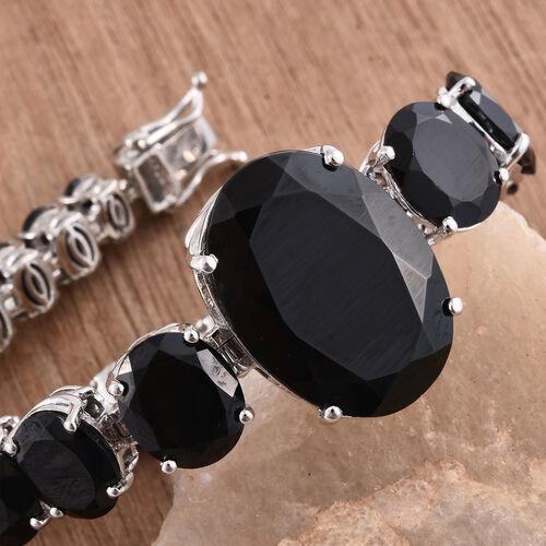 Rare Size Boi Ploi Black Spinel (Ovl 35.20 Ct) Bracelet (Size 8.25) in Platinum Overlay Sterling Silver 91.250 Ct. Silver wt. 26.19 Gms.