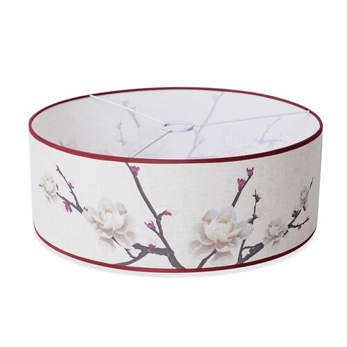 Linen Look Floral Printed Lamp Shade with Gold Rim (50 cm Diameter) Rose Flower