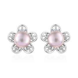 Freshwater Pink Pearl (Rnd) Stud Earrings (with Push Back) in Platinum Overlay Sterling Silver