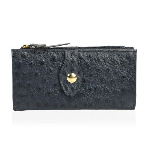 Close Out Deal 100% Genuine Leather Classic Black Ostrich Embossed Large Clutch Wallet with RFID Blo