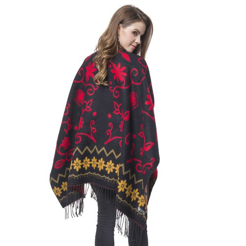 Designer Inspired- Black, Red and Multi Colour Floral Pattern Reversible Kimono with Tassels (Size 127X75 Cm)