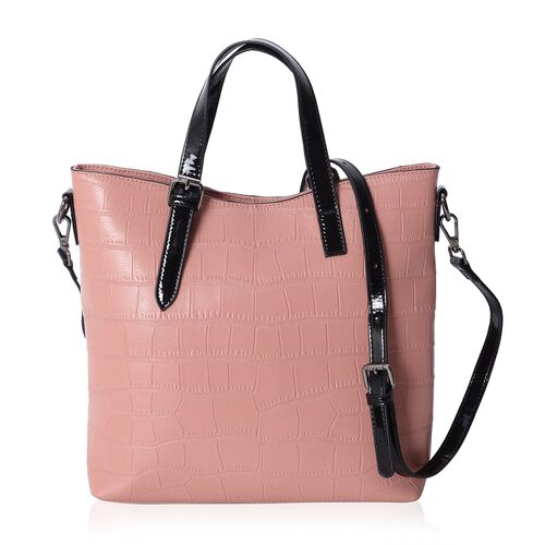 Lady Pink100% Genuine Leather Croc Embossed Tote Bag with High Glossed Shoulder Strap (Size 28x27x10 Cm)