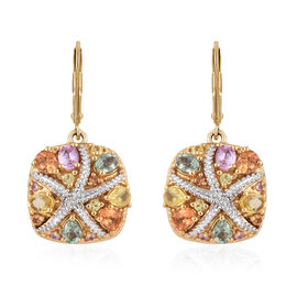 Multi Rainbow Sapphire (Ovl, Pear and Rnd) Lever Back Earrings in   14K Gold Overlay Sterling Silver