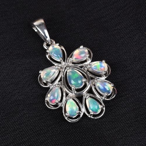 AA Ethiopian Welo Opal Pendant in Platinum Overlay Sterling Silver 1.50 Ct.