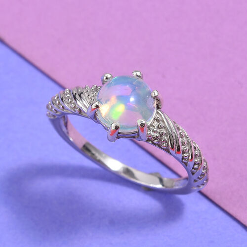 Ethiopian Welo Opal and Natural Cambodian Zircon Ring in Platinum Overlay Sterling Silver 1.00 Ct.