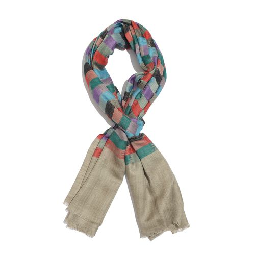 100% Cashmere Wool Light Beige, Red and Multi Colour Grid Pattern Scarf (Size 200x70 Cm)
