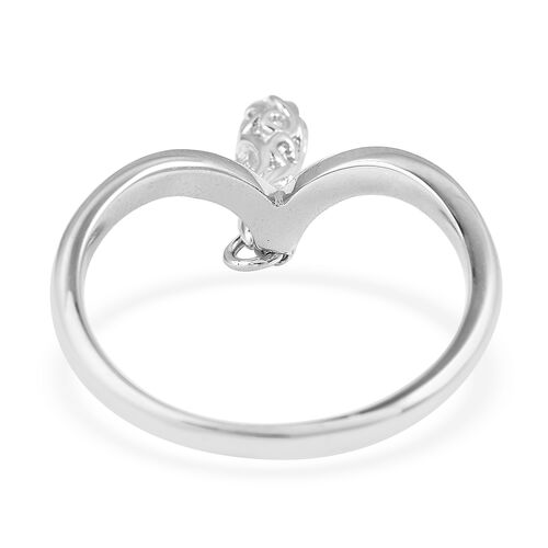 LucyQ Rhodium Overlay Sterling Silver Single Air Drip Ring