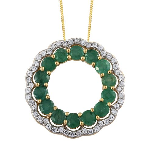 AA Kagem Zambian Emerald (Rnd), Natural Cambodian Zircon Circle of Life Pendant with Chain in 14K Go