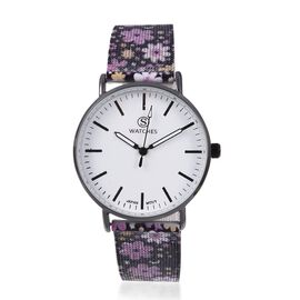 STRADA Japanese Movement Water Resistant Watch with Floral Pattern Mesh Chain