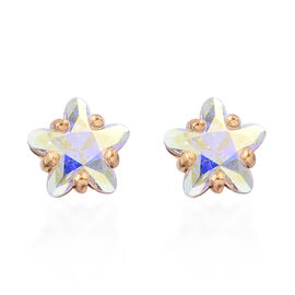 J Francis -Crystal from Swarovski  AB Crystal Stud Earrings (with Push Back) in 14K Gold Overlay Sterling Silver