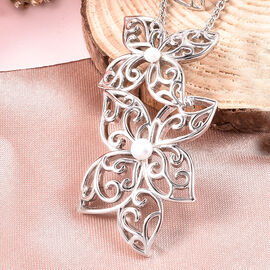 LucyQ White Freshwater Pearl Flower Petal Pendant with Chain (Size 16 with 4 inch Extender) in Rhodium Overlay Sterling Silver, Silver wt. 16.16 Gms