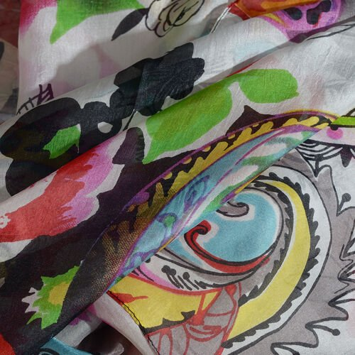 100% Mulberry Silk Black, Orange and Multi Colour Handscreen Floral and Paisley Printed Scarf (Size 180X100 Cm)