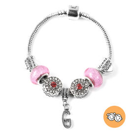 G Initial Charm Bracelet for Children in Simulated Pink Colour Bead, Red and White Austrian Crystal