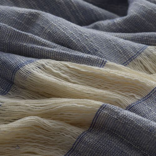 100% Cotton Blue and Off White Colour Kimono (Size 110x75 Cm)