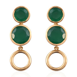 9.25 Ct Verde Onyx Connecting Circle Drop Earrings in Gold Plated Sterling Silver 5.7 Grams