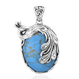 Royal Bali Collection Blue Mojave Turquoise (Ovl) Peacock Pendant in Sterling Silver 38.270 Ct, Silv