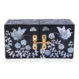 Handcrafted Jewelry boxes Adorned with Butterfly pearl shell inlay artwork Features 4 tiny drawers hidden when closed Unique two-squared shaped box design Easy to open at 180 degrees In