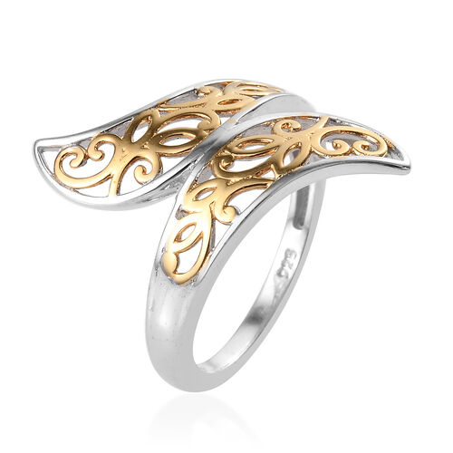 Platinum and Yellow Gold Overlay Sterling Silver Filigree Ring