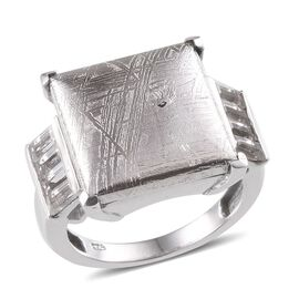 Meteorite (Sqr 20.00 Ct), White Topaz Ring in Platinum Overlay Sterling Silver 21.250 Ct.