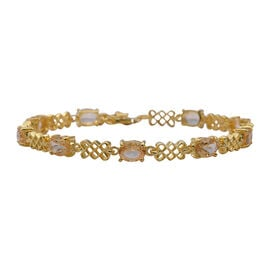 Super Auction- Citrine (Ovl 7x5 mm) Bracelet (Size 7.5 with Extender) in Yellow Gold Overlay Sterlin