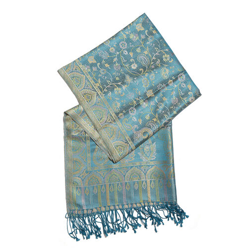 SILKMARK - 100% Superfine Silk Blue, Green and Multi Colour Floral and Paisley Pattern Jacquard Jamawar Scarf with Tassels (Size 180X70 Cm) (Weight 125 to 140 Gm)
