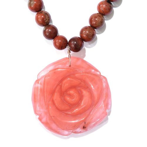 Rare Hand Carved Red Jasper and Natural Lepidocrocite Rose Necklace (Size 20) in Platinum Overlay St
