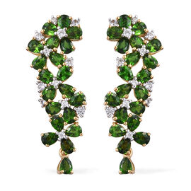 Russian Diopside (Pear), Natural Cambodian Zircon Earrings (with Push Back) in 14K Gold Overlay Sterling Silver 7.500 Ct, Silver wt 6.66 Gms.