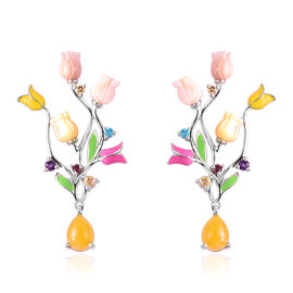 Jardin Collection - Yellow Jade (3.00 Ct.), Pink Mother of Pearl and Multi Gemstone Tuilp Dangle Ena