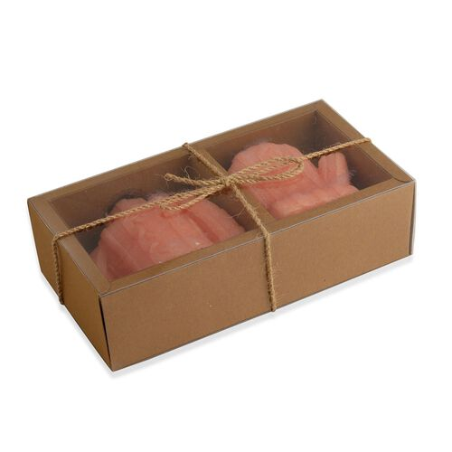 Home Decor - Peach Colour Decorative Cable Knit Sweater and Glove Shape Candles (Size 10x7 and 11x7 Cm) in Gift Box