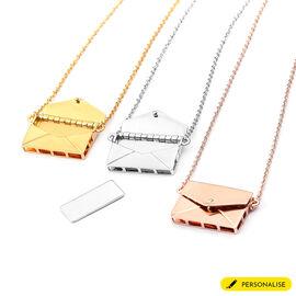 "Personalised Engraved Secret Message Envelope Necklace, Size 20"""