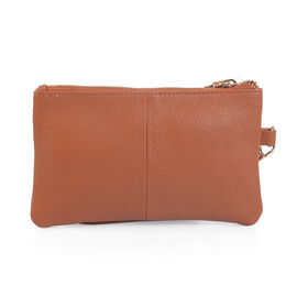 100% Genuine Leather Tan Wristlet (Size 19x12 Cm)