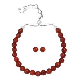 Burmese Red Jade (Rnd) Bracelet (Size 6.5 to 10) and Stud Earrings (with Push Back) in Rhodium Overl