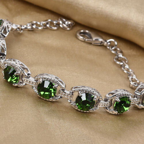 J Francis Crystal from Swarovski Fern Green Crystal Bracelet (Size 7.5 with Extender) in Silver Tone