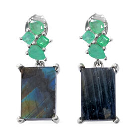 Natural Spectrolite (Bgt), Kagem Zambian Emerald Earrings (with Push Back) in Platinum Overlay Sterl