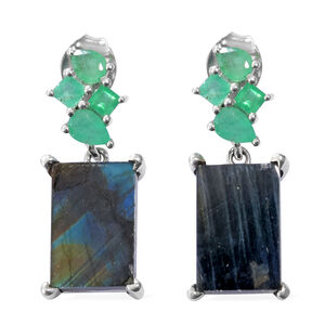 Natural Spectrolite (Bgt), Kagem Zambian Emerald Earrings (with Push Back) in Platinum Overlay Sterling Silver 7.000 Ct.